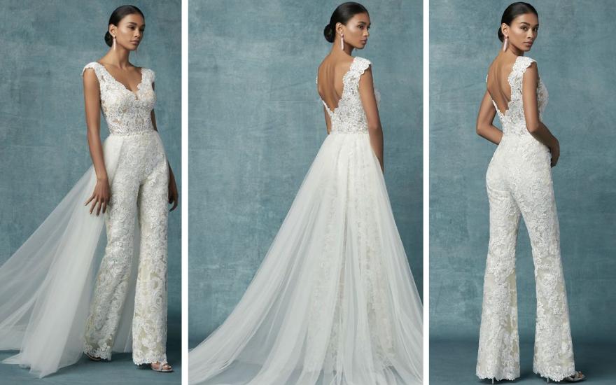Нов моден тренд-бели комбилизони како замена за невестински фустан(ФОТО)